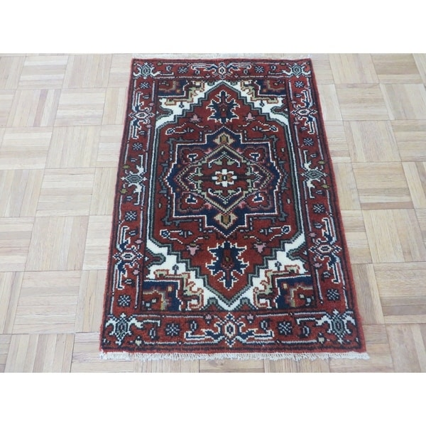 Hand Knotted Brick Red Serapi Heriz With Wool Oriental Rug 2 X27 X