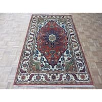 "Hand Knotted Rust Red Serapi Heriz with Wool Oriental Rug - 4'11"" x 8'2"""