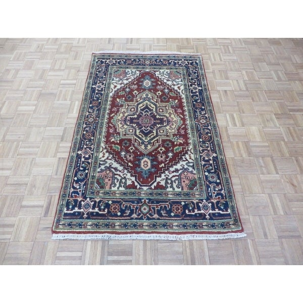 """Hand Knotted Rust Red Serapi Heriz with Wool Oriental Rug - 4' x 6'3"""""""