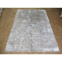 "Hand Knotted Gray Modern with Wool & Silk Oriental Rug - 10'2"" x 14'2"""