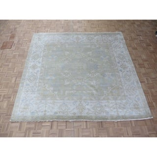 """Hand Knotted Sage Green Oushak with Wool Oriental Rug (8'10"""" x 9'2"""")"""