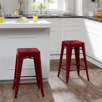 Tabouret 24-inch Candy Apple Metal Counter Stools (Set of 2)