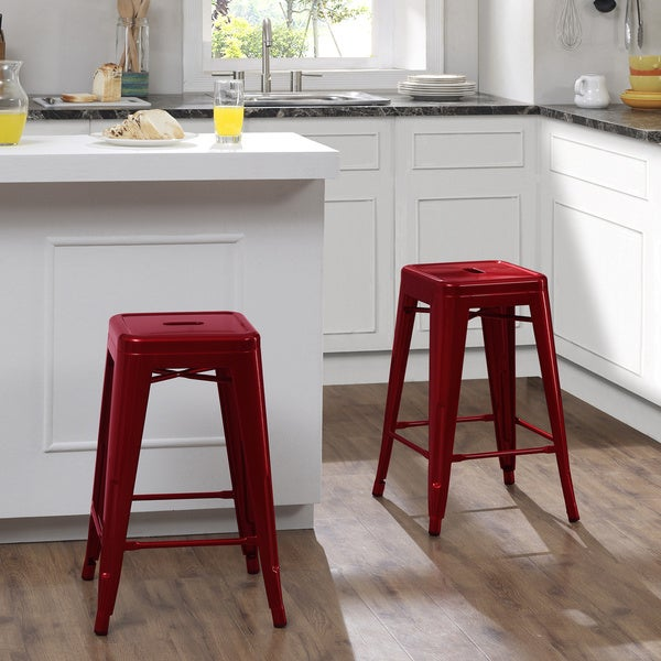 Shop Tabouret 24 Inch Candy Apple Metal Counter Stools Set Of 2