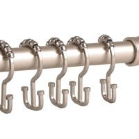 Deco Flat Double Roller Shower Curtain Hooks, Satin Nickel