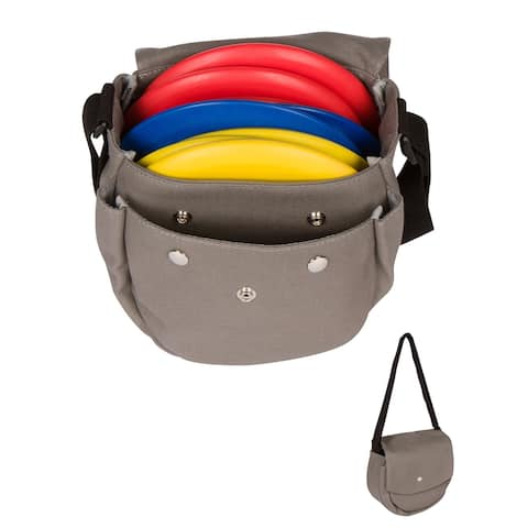 """9"""" Disc Golf Canvas Carry Bag with 9 Discs by Trademark Innovations"""