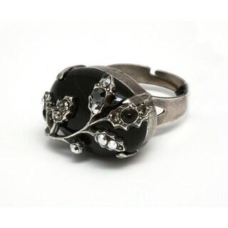 Amaro 'Primitive' Collection .925 Sterling Silver Plated Adjustable Ring - Black