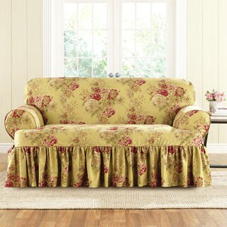 Sure Fit Ballad Bouquet Loveseat T-Cushion Skirted Slipcover in Indigo (As Is Item)