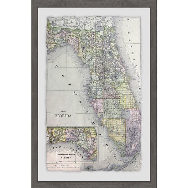 Shop Florida Map Framed Painting Print On Sale Free Shipping