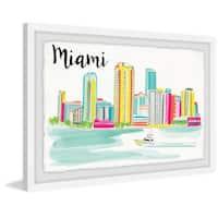 'Miami Skyline' Framed Painting Print