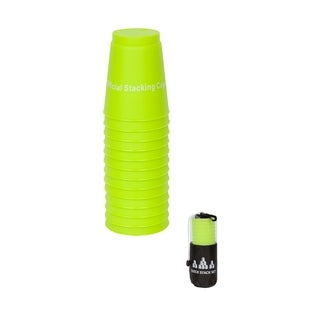 Quick Stack Cups - Speed Stacking Cups -Carry Bag- Set of 12 - (Green)