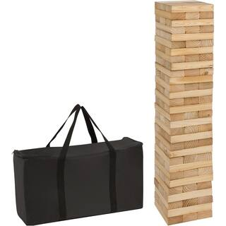 90 Piece 3' Tall Giant Wooden Stacking Puzzle Game with Carry Case