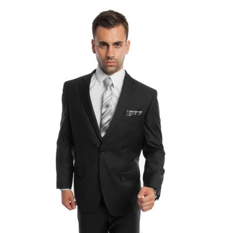 Men's Suit 2 Pcs. Modern Fit Solid Notch Lapel Two Button Suit