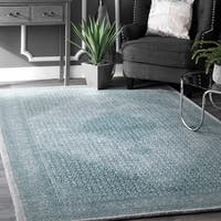 "nuLOOM Transitional Diamond Medallion Wool Blue Rug (7'6 X 9'6) - 7'6"" x 9'6"""