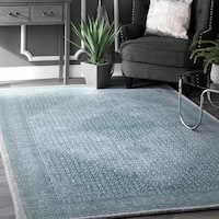 nuLOOM Transitional Diamond Medallion Wool Blue Rug (7'6 X 9'6)