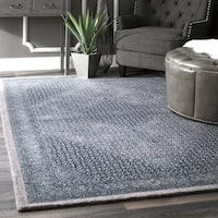 nuLOOM Transitional Diamond Medallion Wool Dark Blue Rug - 7'6 X 9'6