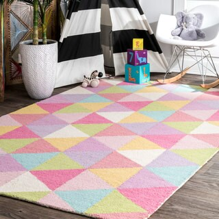 nuLOOM Handmade Dimentional Triangles Wool Pink Kids Rug (5' X 8')