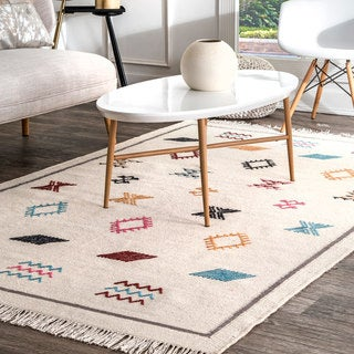 Link to nuLOOM Ivory Handmade Flatweave Southwestern Persian Area Rug Similar Items in Rugs
