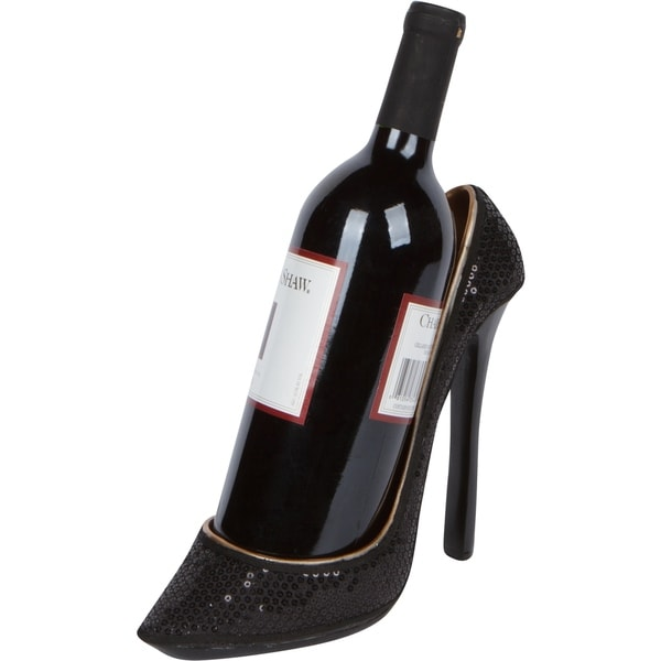 "8.5"" x 7""H High Heel Wine Bottle Holder - Stylish Conversation Starter Wine Rack By Hilarious Home (Black Sequin)"