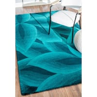 nuLOOM Handmade Leaves Wool Turquoise Rug (6' X 9')