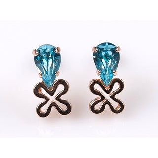 Amaro 'Ocean' Collection 24K Rose Gold Plated Earrings - Blue