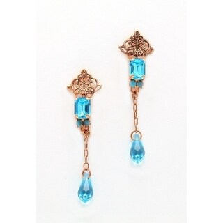 24K Rose Gold Plated Earrings from 'Ocean' Collection by Amaro - Blue