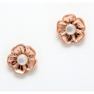 24K Rose Gold Plated Earrings 'Pearl Gem' Collection by Amaro - White