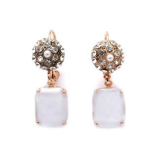 Amaro 'Shining Gaia' Collection 24K Rose Gold Plated Earrings - White
