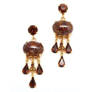 Topaz' Collection 24K Yellow Gold Plated Earrings by Amaro - Brown