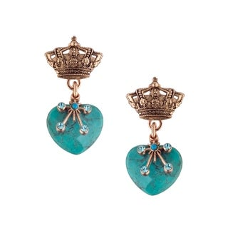Ocean' Collection by Amaro 24K Rose Gold Plated Earrings - Blue