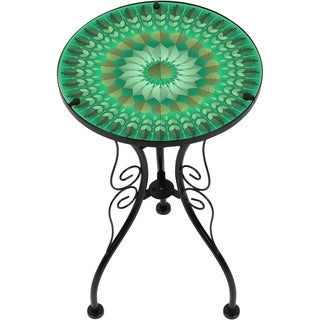 """22"""" Leaf Design Glass & Metal Side Table by Trademark Innovations"""