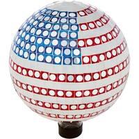 "10"" Mosaic Glass Gazing Mirror Ball  - By Trademark Innovations (American Flag)"
