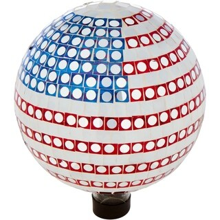"10"" Mosaic Glass Gazing Mirror Ball - By Trademark Innovations (American Flag)"