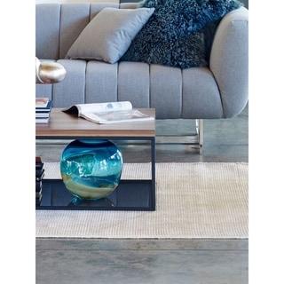 Aurelle  Home Modern Blue Globe Glass Vase