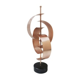 Aurelle Home Modern Copper and Marble Sculpture