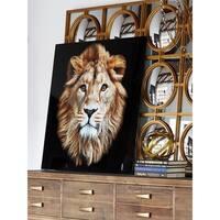 Aurelle Home African Lion Glass Wall Decor