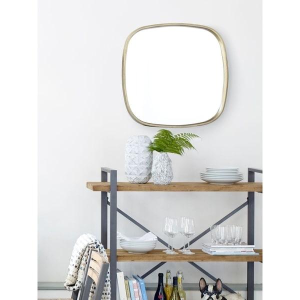 shop aurelle home modern antiqued brass metal frame mirror clear