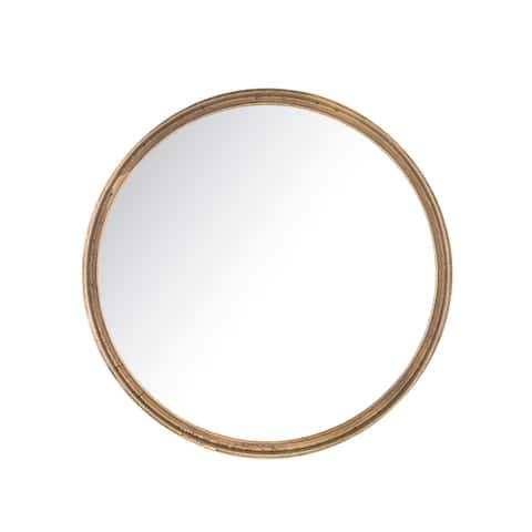 Aurelle Home Modern Antiqued Brass Metal Frame Mirror - Clear