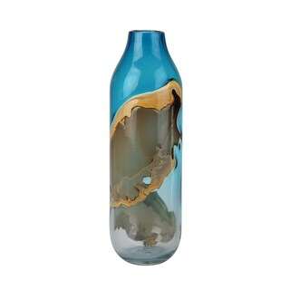 Aurelle Home Modern Blue Tall Glass Vase