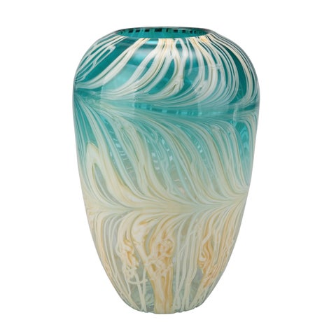 Aurelle Home Modern Teal Glass Vase