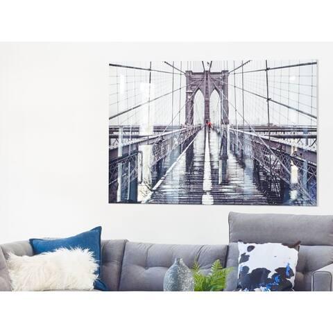 Aurelle Home Modern Brooklyn Bridge Glass Wall Decor