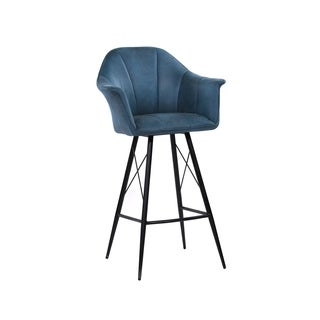 Aurelle Home Mid Century Modern Blue Upholstered Bar stool