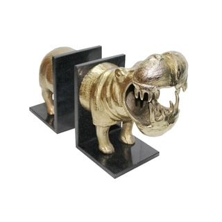 Aurelle Home Modern Aluminum and Marble Hippo Bookend