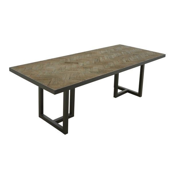 "Aurelle Home Harriet Industrial Farmhouse Oak Rectangular Dining Table - Cappuccino - 30"" x 94.5"" x 39.5"""