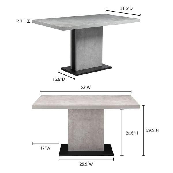 Aurelle Home Modern Concrete Kitchen Table - Grey