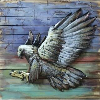 Hawk Bird of Prey Metal and Wood Wall Decor