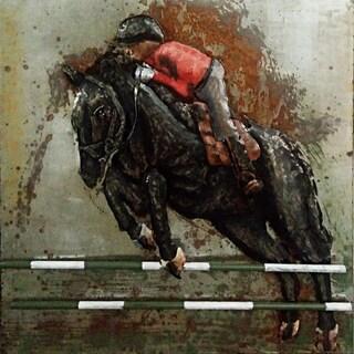 Aurelle Home 3D Horse and Jockey Handmade Metal Wall Decor
