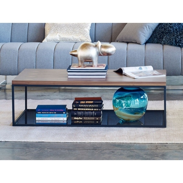 Aurelle Home Slim Modern Walnut Coffee Table