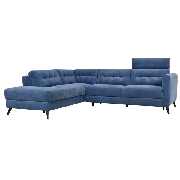 Aurelle Home Motion Left Navy Blue Sectional Sofa
