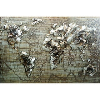 Metal and Acrylic World Map Wall Decor