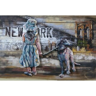 Modern Girl and Dog Metal/Wood Wall Decor